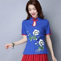 中国风女装T恤女夏装新款 棉麻茶服女改良旗袍短袖民族风上衣