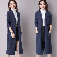 秋装女2018新款针织开衫韩版冬季毛衣外套宽松中长款长袖羊绒外搭 蓝