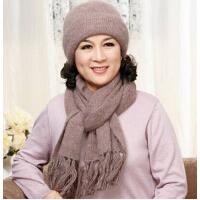 中老年人女士秋冬季加厚保暖帽子围巾两件套装 老太太妈妈兔毛毛线