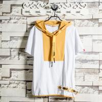 2018新款原创设计短袖T恤男连帽韩版潮牌字母织带装饰学生上衣潮