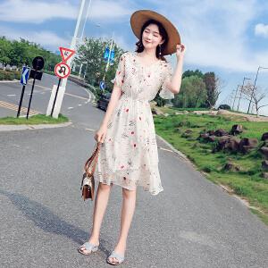 安妮纯2019夏装新款女装气质修身显瘦中长款印花燕尾裙子超火雪纺连衣裙