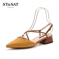 星期六(ST&SAT)2019春季专柜同款羊皮革交叉绑带尖头粗跟单鞋SS91114308