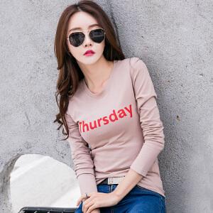 春装新款长袖女士T恤韩版修身显瘦棉质字母印花大码打底T恤衫