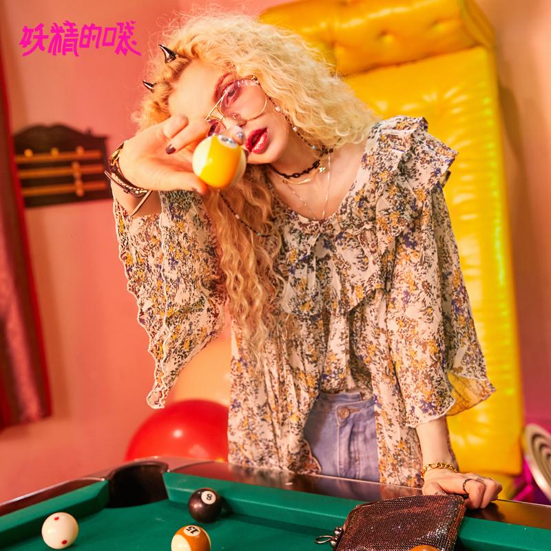 【10.16秒杀价:120】妖精的口袋荷叶边雪纺衫新款宽松v领chic碎花蕾丝衫女 为有趣的人创造惊喜