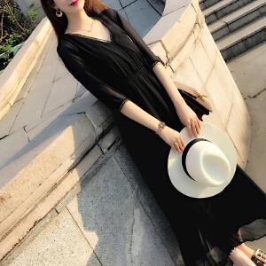 安妮纯黑色连衣裙女2019春装新款韩版V领显瘦ins超火冷淡风雪纺长裙子夏