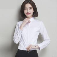 春款白衬衫女长袖新款韩版蓝色衬衣女工装工作服女衬衫大码