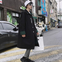 2018新款秋装宽松韩版中长款风衣男士潮流大衣翻领双面穿薄款外套