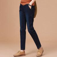 冬季加绒裤子女士复古加厚牛仔裤宽松韩版哈伦裤 宝蓝