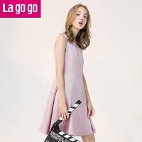 Lagogo拉谷谷2019年秋季新款女装拉链纯色高腰连衣裙女无袖A字裙