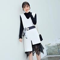 冬季套装裙两件套新款毛衣裙中长款韩版时尚冬裙蕾丝连衣裙厚
