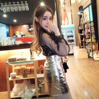 2018夏季新款韩版气质蕾丝亮片蝴蝶结系带上衣+修身包臀A字裙套装