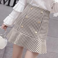 荷叶边鱼尾裙 格子半身裙短裙女2018春装新款高腰百搭显瘦包臀裙
