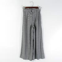 AB0877精品秋冬新款松紧高腰显瘦有腰带好搭配女格子阔腿裤