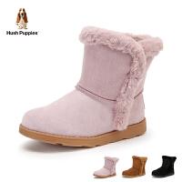 暇步士Hush Puppies童鞋2018冬季新款女童加绒保暖靴子儿童绒面耐磨雪地靴学生靴中筒短靴(8-12岁可选)