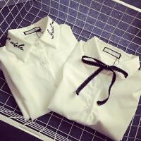 学院风系带白衬衫女bf韩版文艺学生装搭配针织马甲的打底衬衣百搭