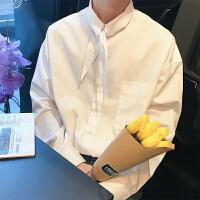 韩国帅气青少年文艺纯白色休闲长袖衬衣春季新款男士宽松时尚衬衣