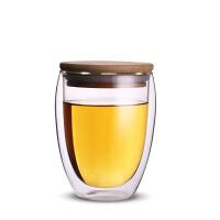 创意双层玻璃杯泡茶杯耐热办公室茶杯带盖饮茶水杯子
