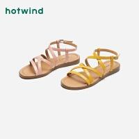 热风优雅时尚女士凉鞋一字扣带平底休闲凉鞋H52W9219