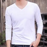 男士长袖t恤V领体恤白色上衣打底衫色内搭衣服棉秋衣内衣男装