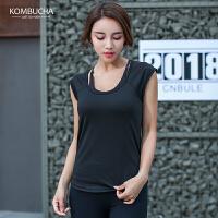 【到手价69】Kombucha瑜伽健身背心2018新款女士后背镂空宽松网纱速干透气健身跑步背心罩衫JCBX221