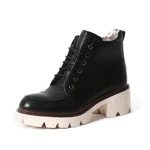 Teenmix/天美意专柜同款牛皮女短靴6Q841DD6