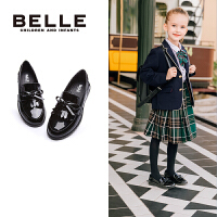 百丽童鞋2017新款中大童英伦风黑色皮鞋亲子鞋女童儿童学生鞋 DE0336