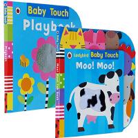 英文原版 大开本 Ladybird Baby Touch 2册 儿童启蒙纸板书绘本触摸书Moo! Moo/Playbook Book 幼儿玩具书 圆角设计不伤手