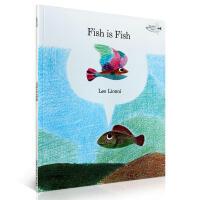 【全店300减100】4度凯迪克奖 Fish is Fish 鱼就是鱼Leo Lionni吴敏兰英文原版绘本 儿童启蒙阅