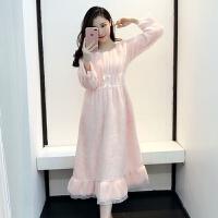 【内衣优选】冬季公主荷叶边长袖睡裙珊瑚绒法兰绒睡衣女加厚加大甜美毛绒长裙