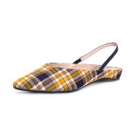 【1双3折叠享50元券】SATURDAYMODE 春季专柜新品织物复古格子时髦平跟浅口单鞋MD91114018