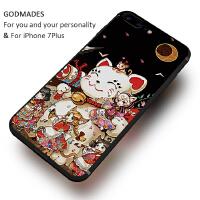 日系和风苹果7plus手机壳招财猫6s个性创意硅胶全包iphone6防摔套