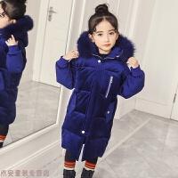 冬季女童棉衣新款冬装儿童棉袄中大童外套冬季中长款羽绒加厚秋冬新款 蓝色 睿豆丽丝绒棉衣