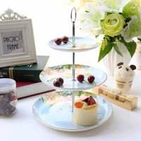 水果盘创意 现代 客厅甜品台摆放欧式陶瓷骨瓷蛋糕三层盘子