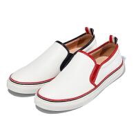 CUM 夏季男士板鞋小白鞋男休闲鞋英伦套脚懒人鞋白色潮鞋子