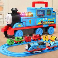 大�托�R斯小火��道套�b玩具仿真��右嬷�和�男孩汽�合金模型