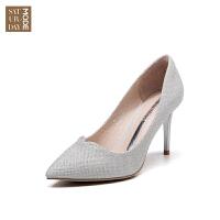SATURDAYMODE女鞋 2019年春季专柜新品璀璨格利特高跟女款单鞋D91111023