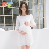 贝贝怡孕妈短袖连衣裙夏季新款韩版中长款双层镂空透气薄款孕妇装
