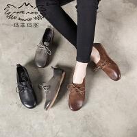玛菲玛图新款单鞋低跟文艺手工复古真皮女鞋舒适低帮鞋系带森女鞋253-9S