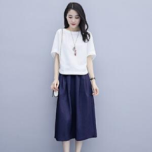 【特价】夏季套装女装时尚两件套2019新款夏天大码七分阔腿裤夏装潮款韩版