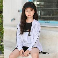 2019 运动衫韩版 女童外套秋中大童棒球服外套 白色