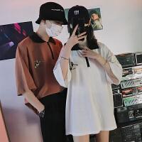 夏季衣服打底衫短袖T恤翻领男士半袖色韩版体恤情侣装潮流男装