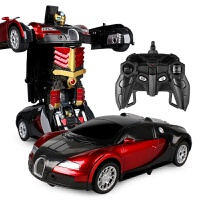 感应变形遥控汽车金刚机器人充电动遥控车玩具车男孩礼物4-5-10岁 33CM布加迪红【遥控+感应变形】 单充电池+US
