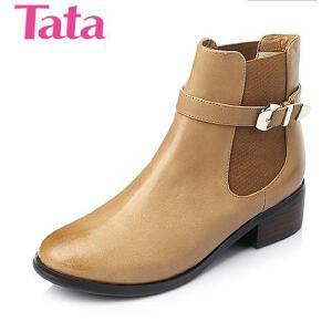 Tata/他她 年舒适油蜡羊皮革女靴L2ZC4DD5