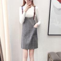 秋冬女2018新款打底针织衫两件套小清新背带裙套装格子连衣裙甜美