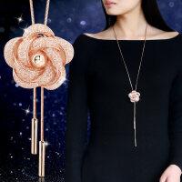日韩版时尚气质花朵毛衣链长款项链 秋冬衣服配饰装饰挂饰品