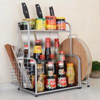 厨房用品不锈钢收纳架刀架调味置物架调味瓶储物架2层壁挂调料架 L型双层调味架+筷笼+砧板架