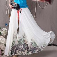 春夏新款 女 民族风素依绣大摆裙半身裙 原创 雪纺裙半身长裙