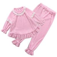 女童新款春秋儿童珊瑚绒睡衣女大童装春季公主厚家居服套装