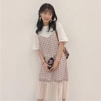 2018新款春夏女装韩版学生拼接格子假两件套短袖连衣裙显瘦学院风