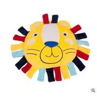 可爱卡通狮子安抚枕头可入口带响纸响铃婴儿小鸟毛绒玩具抱枕坐垫